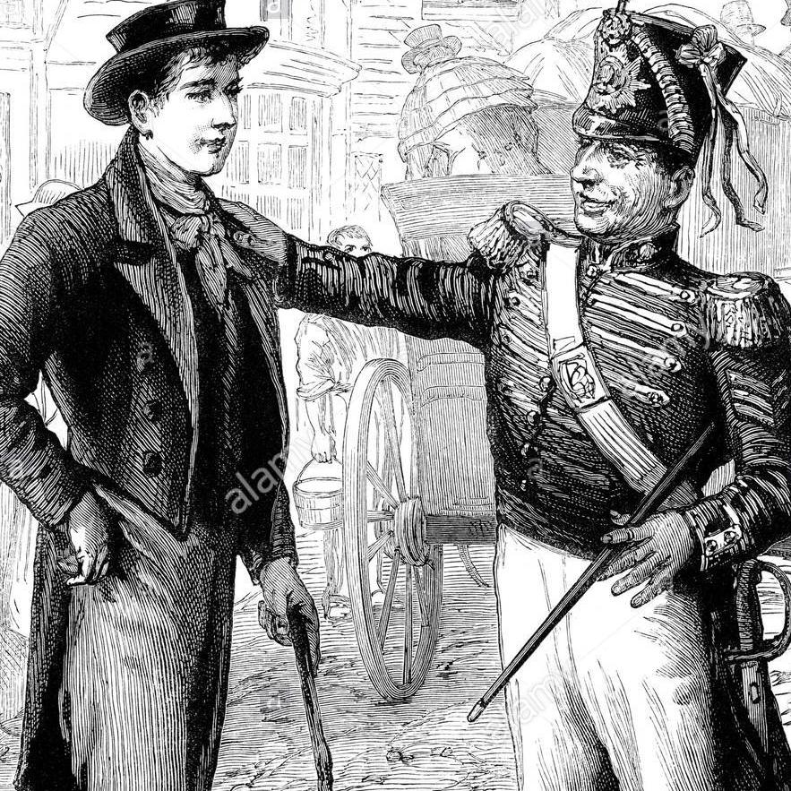 le-sergent-recruteur-de-larmee-britannique-a-parler-a-une-possible-nouvelle-recrue-circa-1815-d15tff.jpg